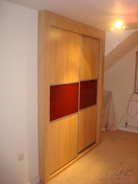 Wood with red glass 2 door slider