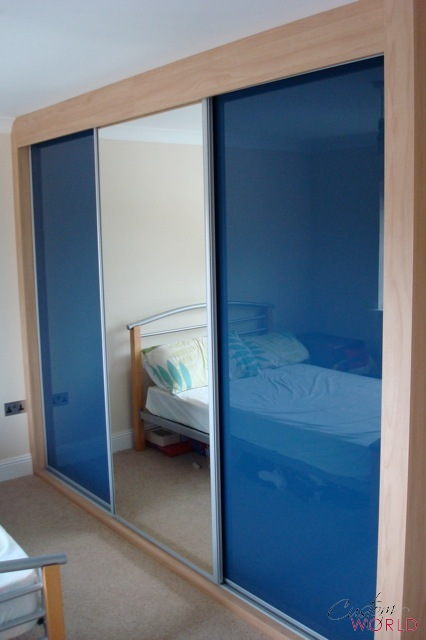 3 door slider blue glass and mirror door