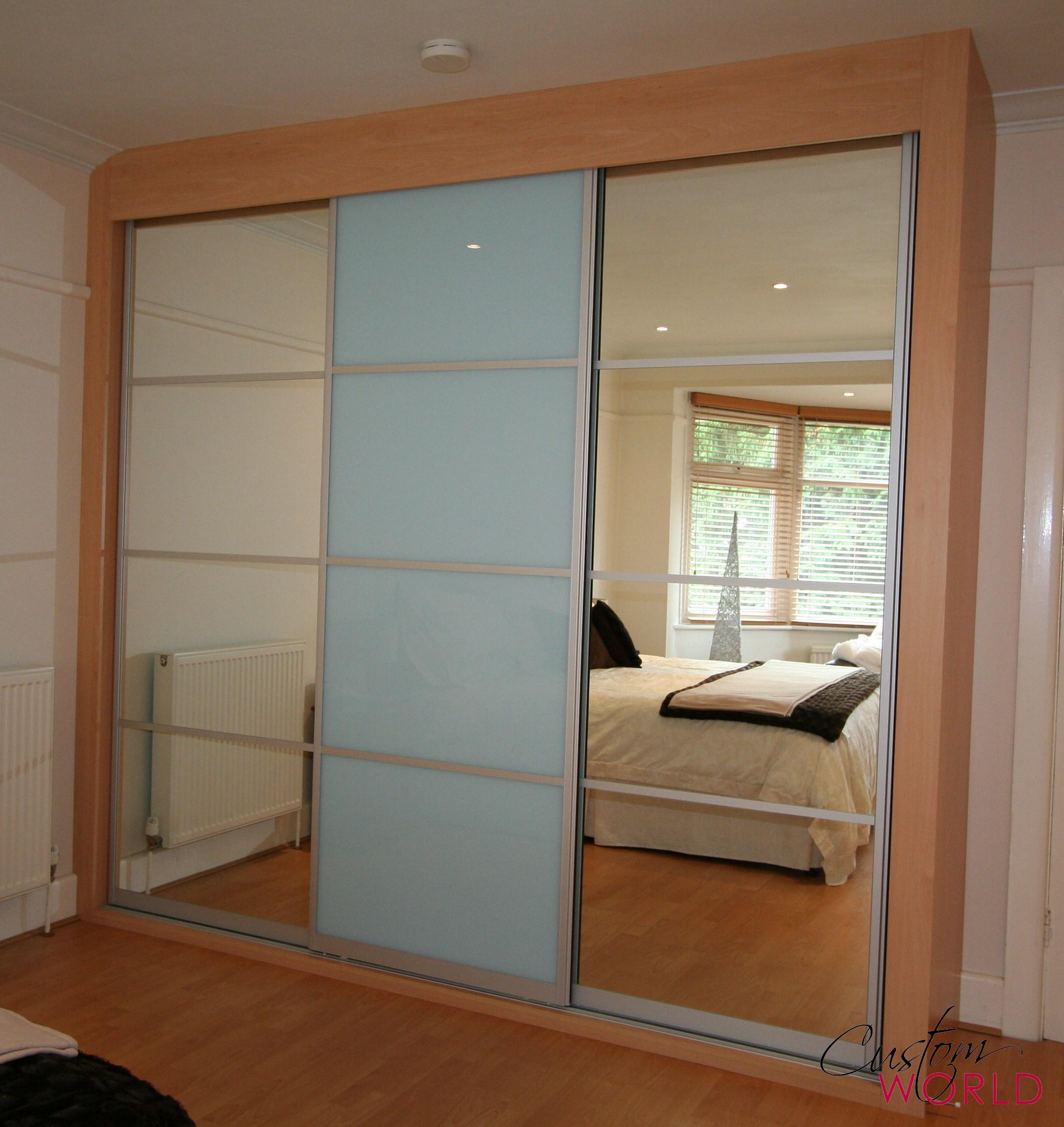 3 door slider with split panels glass and mirror