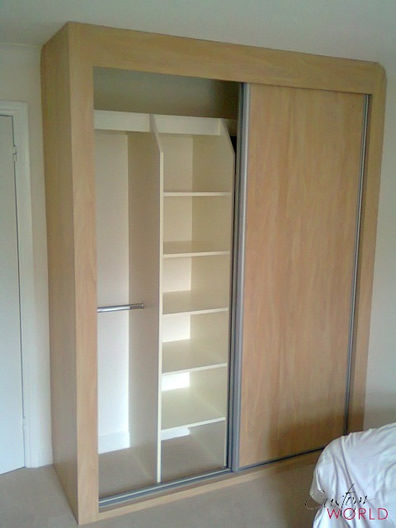 Internal sliding door wardrobe storage