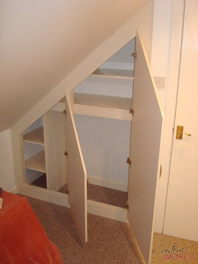 Small fitted cupboard into angled corner