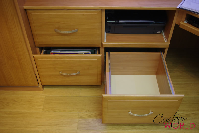 Printer tray and file drawers
