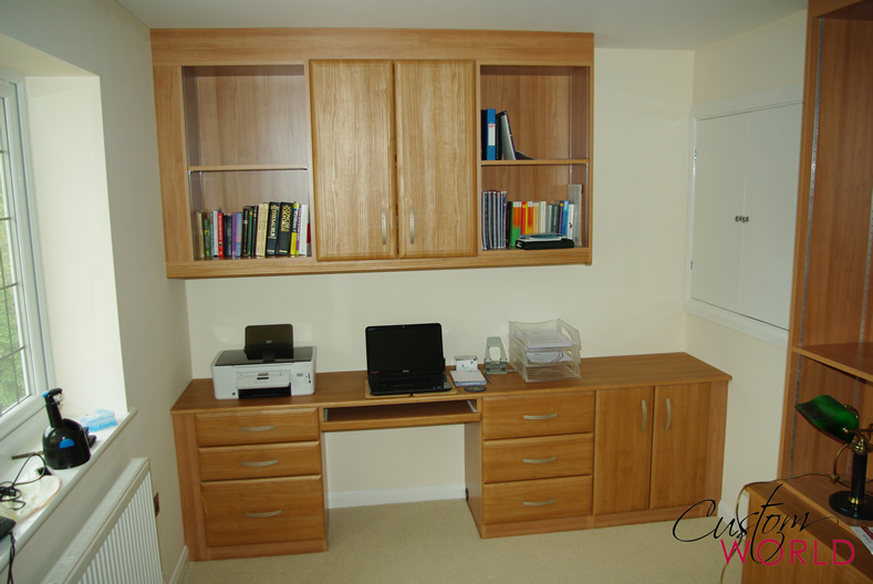 Desk, shelf and cupboards