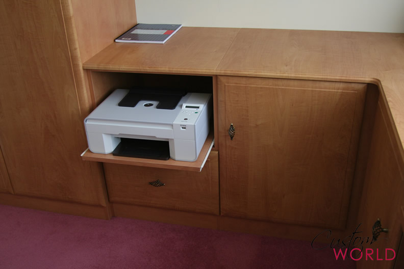 Desk units with printer drawer
