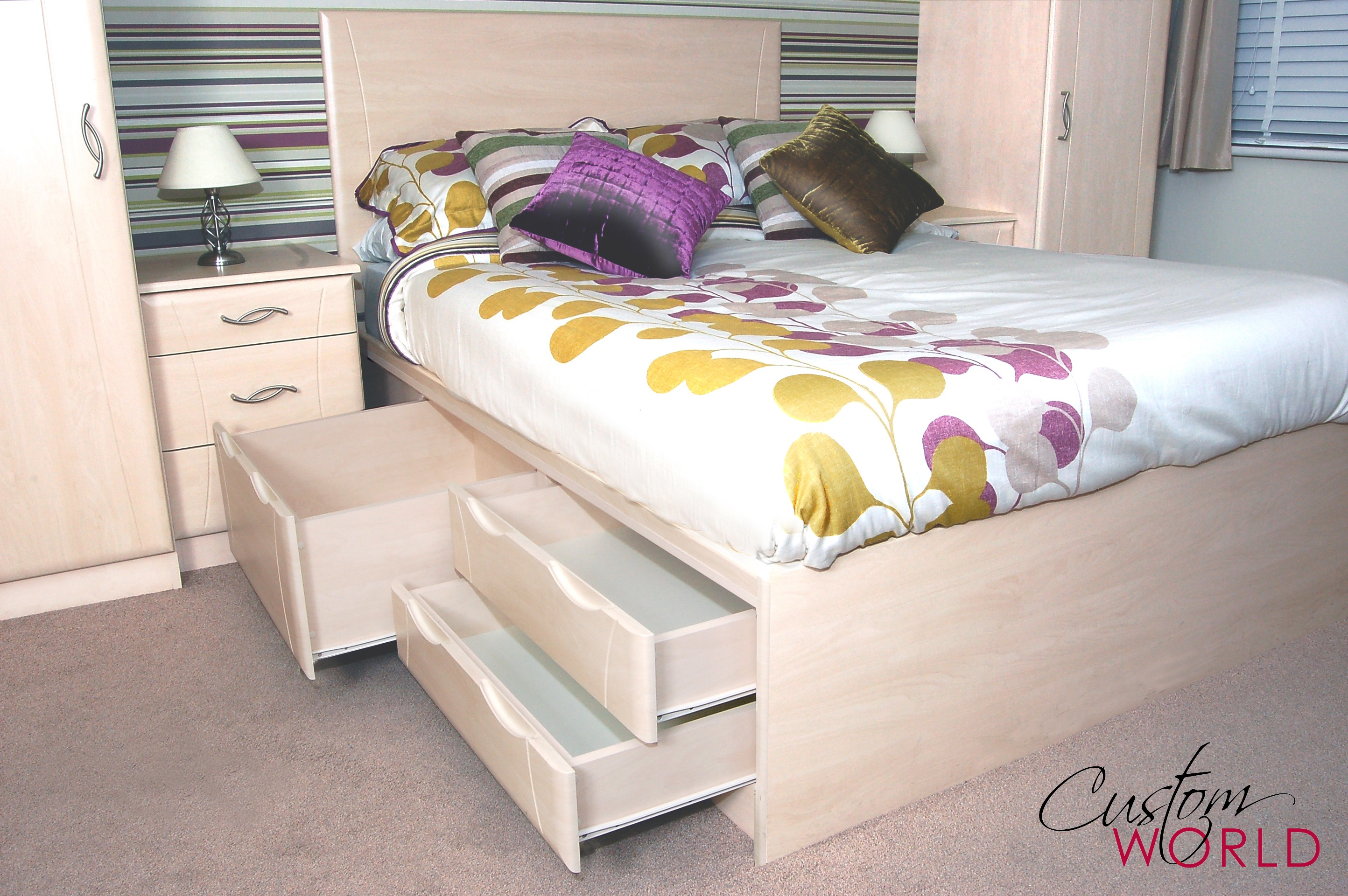 Made to measure bed built to any size with storage drawers