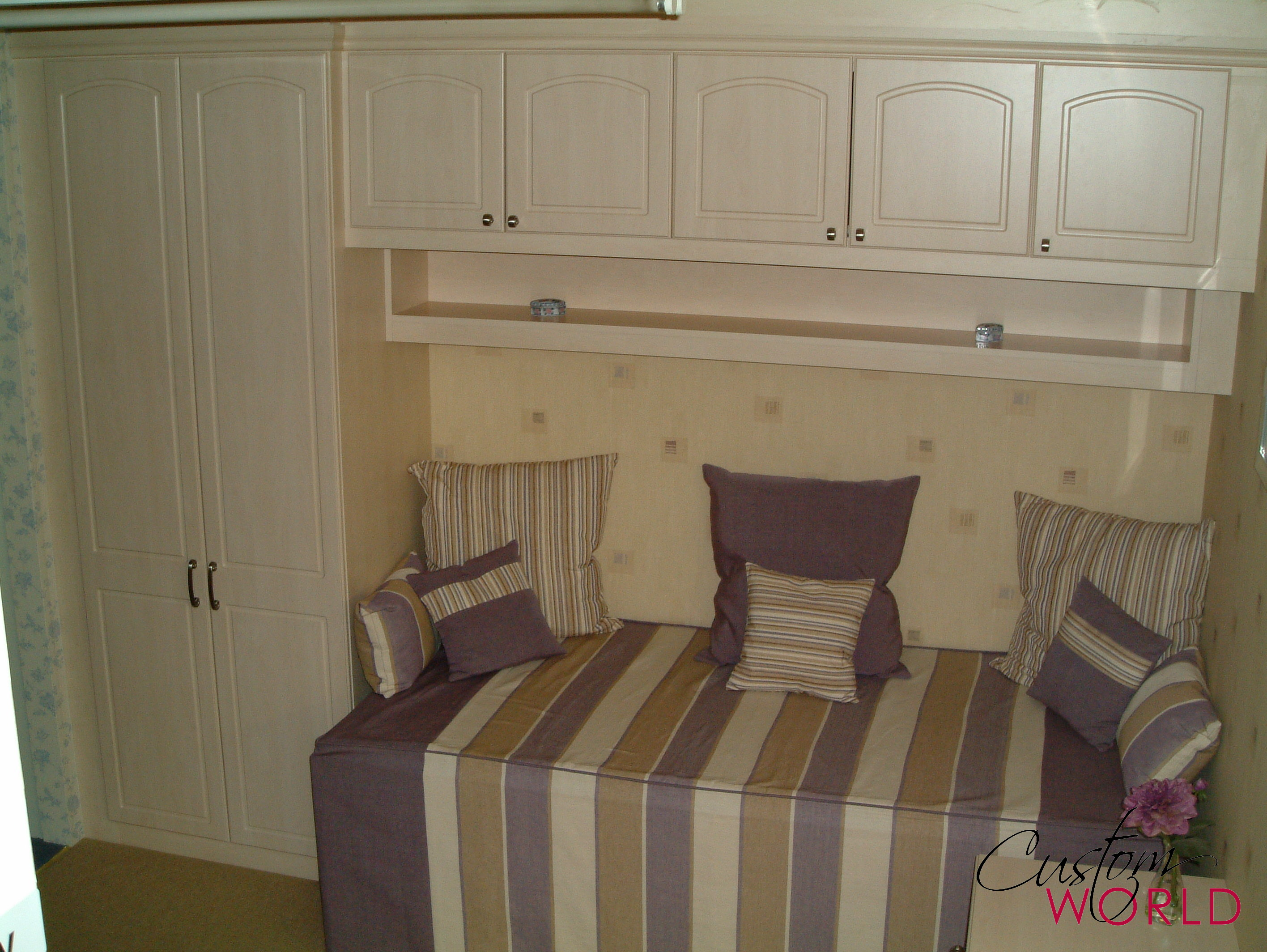 Bespoke bed furniture with overhead storage