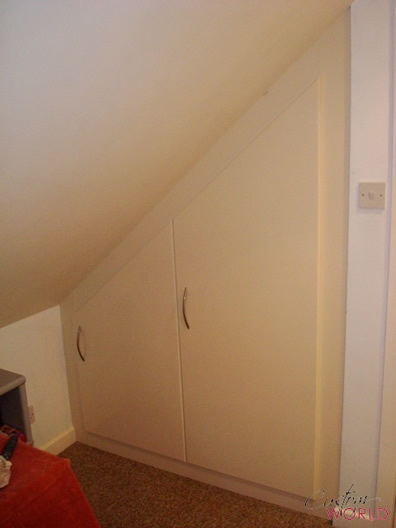 Angled small space bespoke angled door cupboard