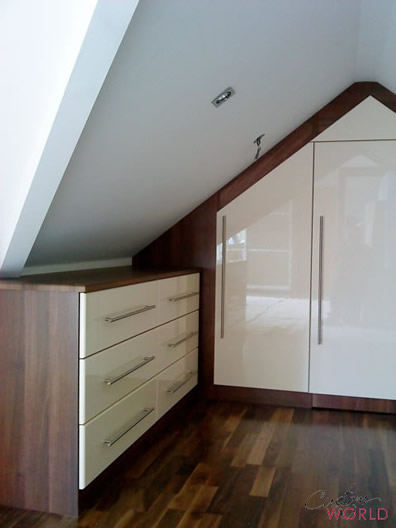 Converted loft room with high gloss doors