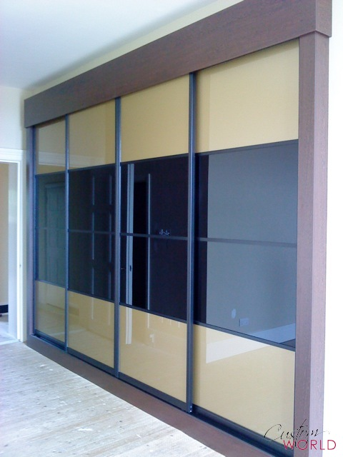 4 door sliding wardrobe with colour glass