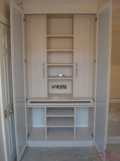 Desk inside wardrobe interior