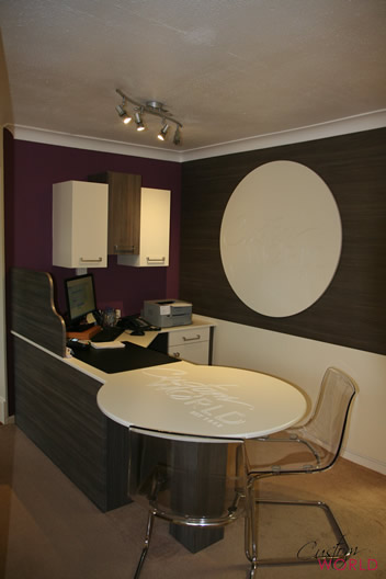 Reception desk and office workspace