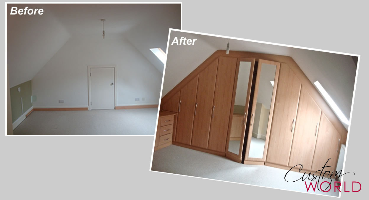 Hinged door wardrobe built in to sloping ceilings