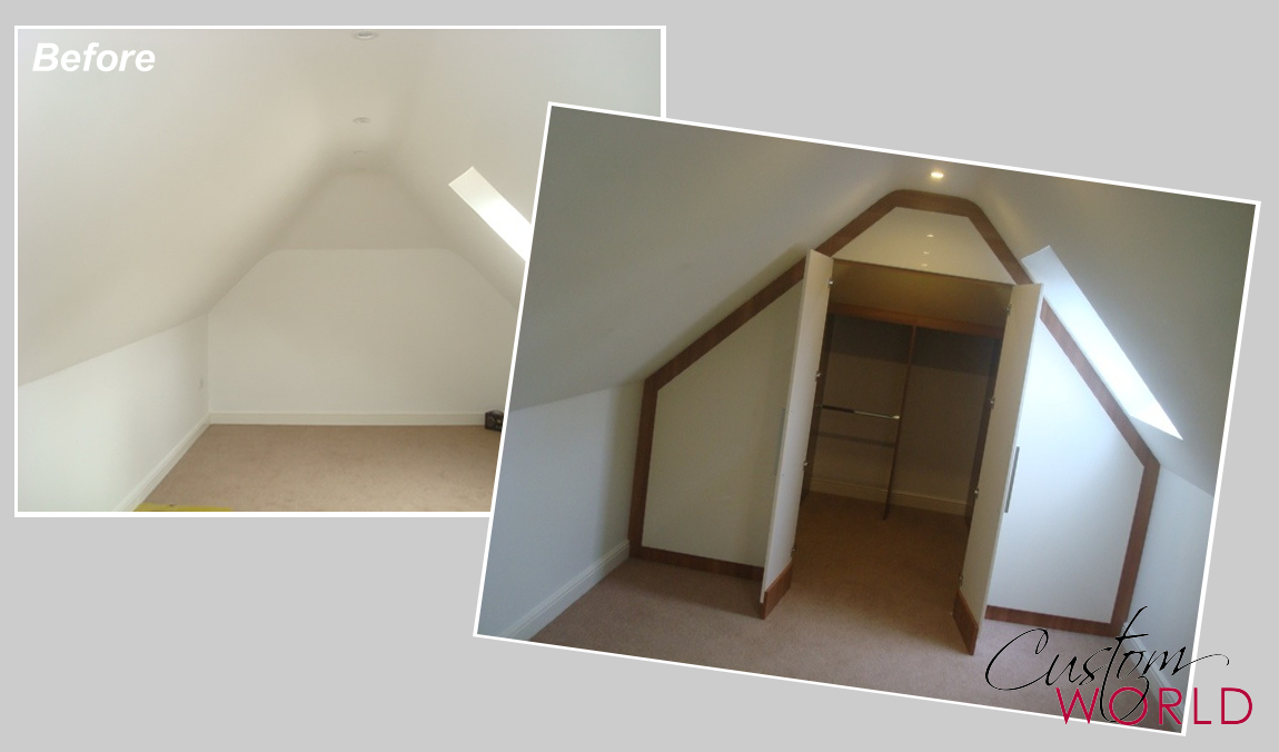 Wardrobe built in to the end of a vaulted ceiling room