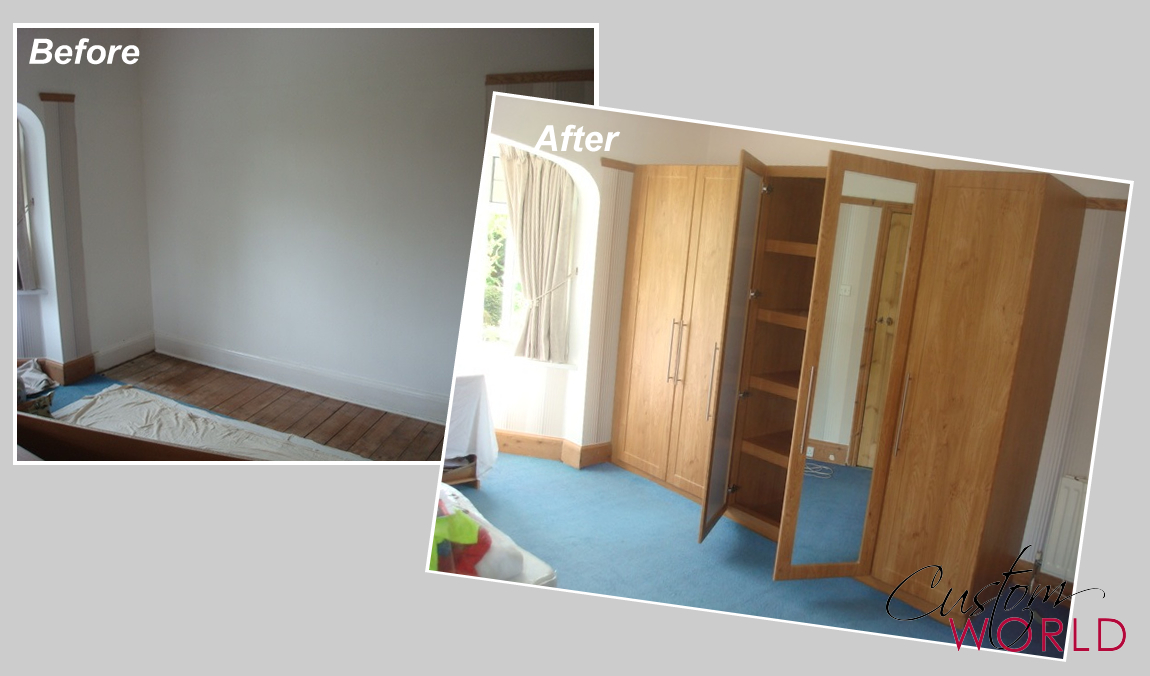 Straight run of wardrobes with mirror doors