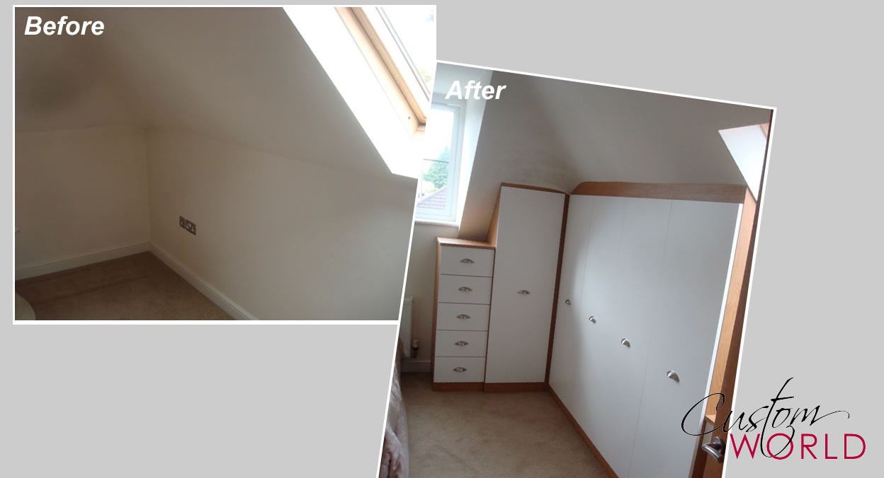 Fitted wardrobes into a sloping ceiling