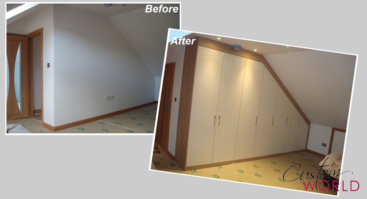 Fitted wardrobes built in to a sloping ceiling