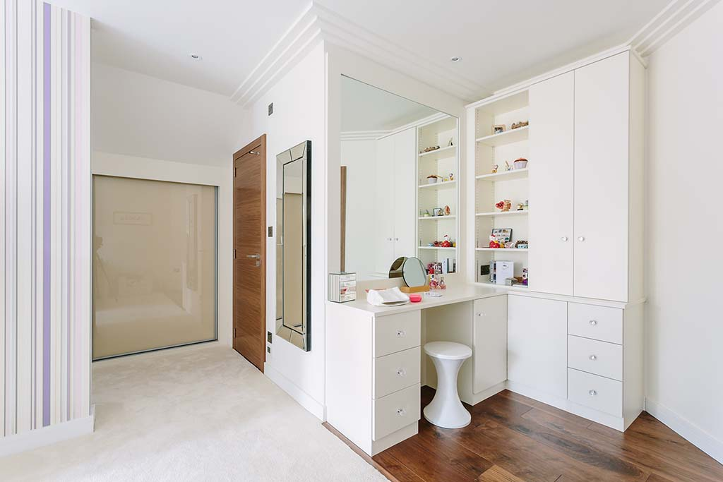 Children's bedroom with hinged white doors