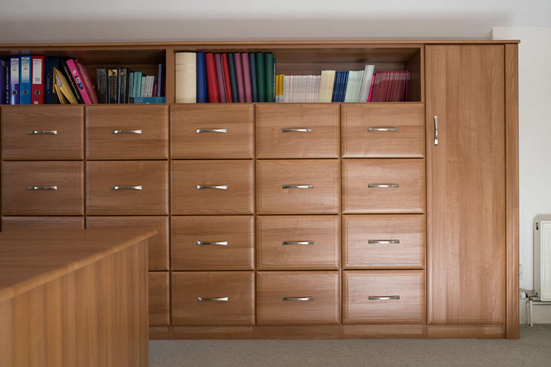 Business office with a bank of file drawers