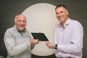 Custom World's Competition winner of ipad Russell Bowyer with Mr Jarman