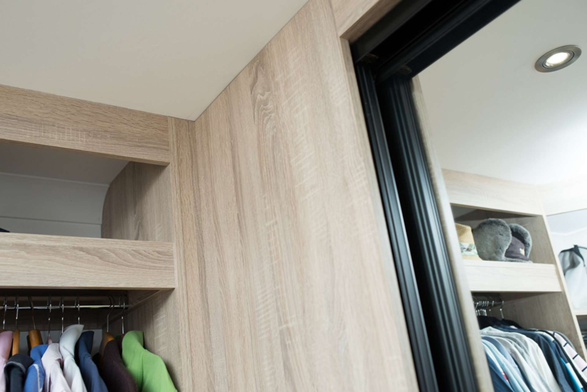 Close up of inside walk in wardrobe sliding door