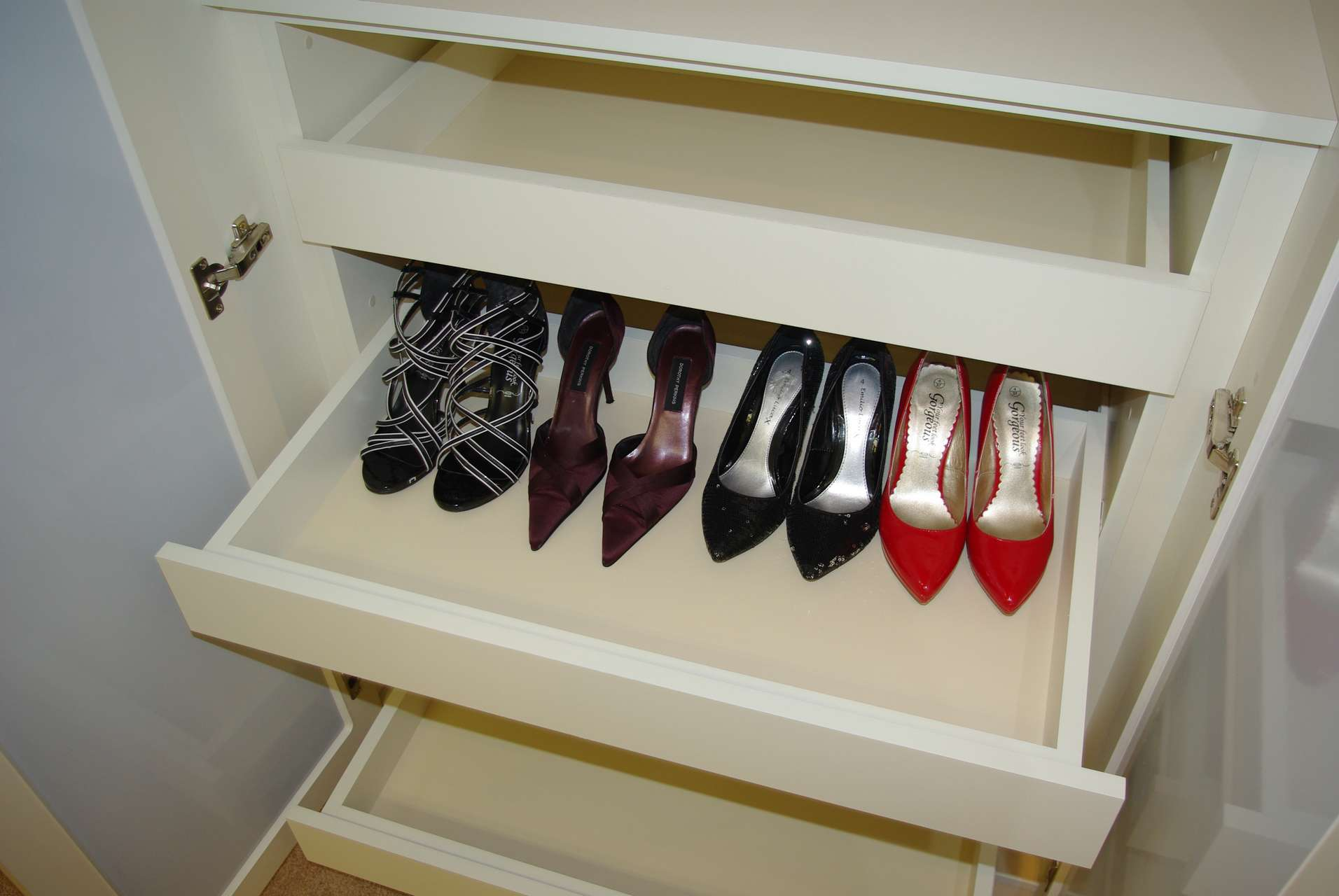 Built in drawers for shoes to tidy away your collection