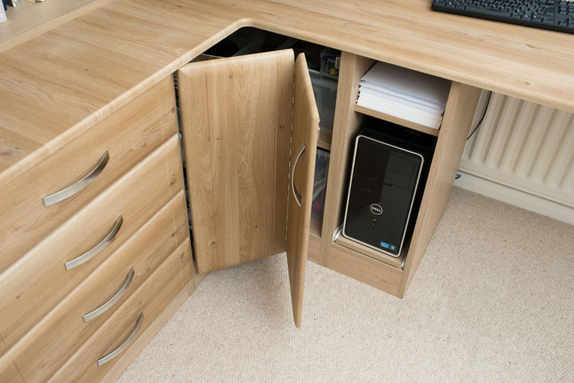 Computer storage and corner cupboard