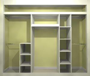Sliding wardrobe interior storage