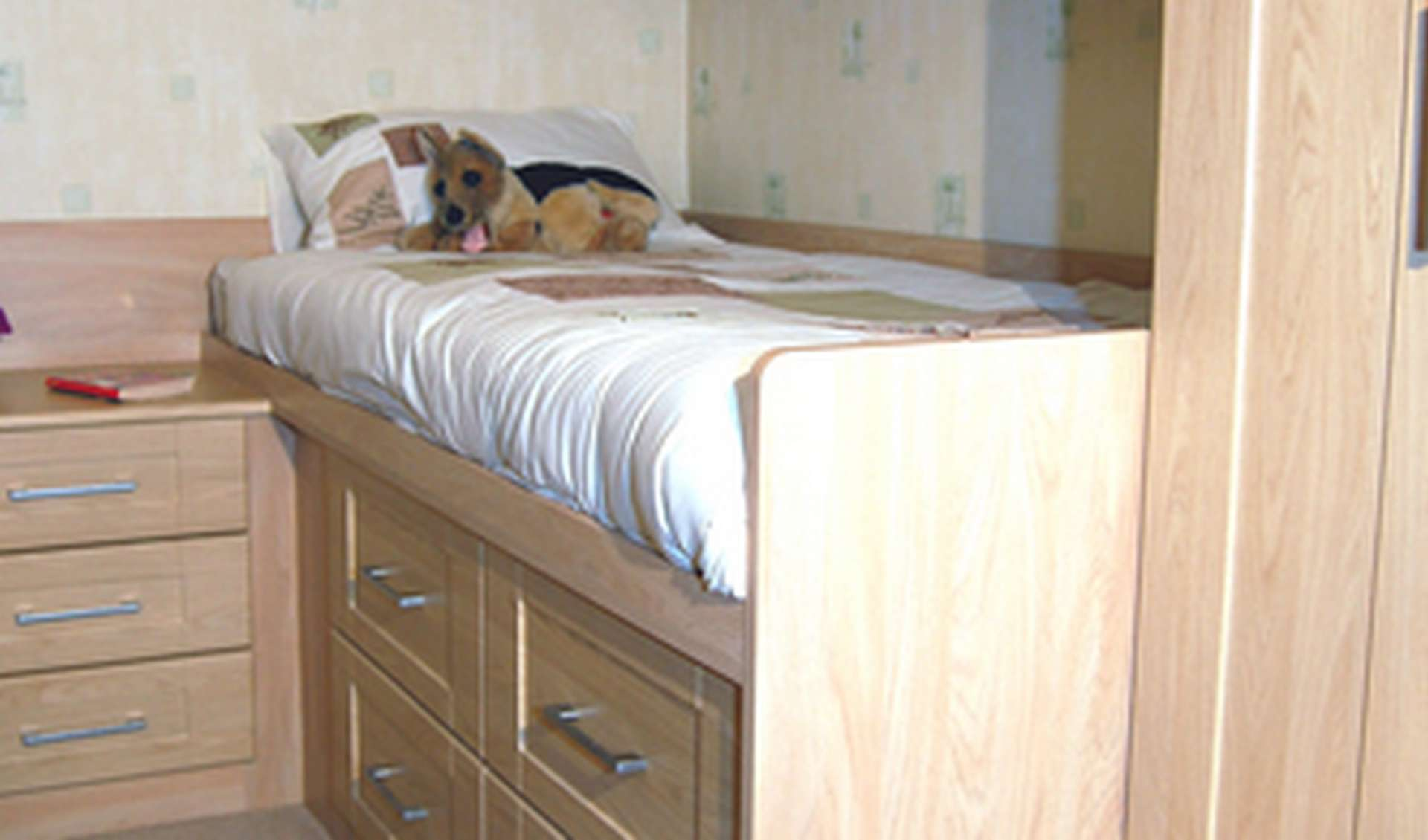 Cabin bed with under storage drawers and bedside