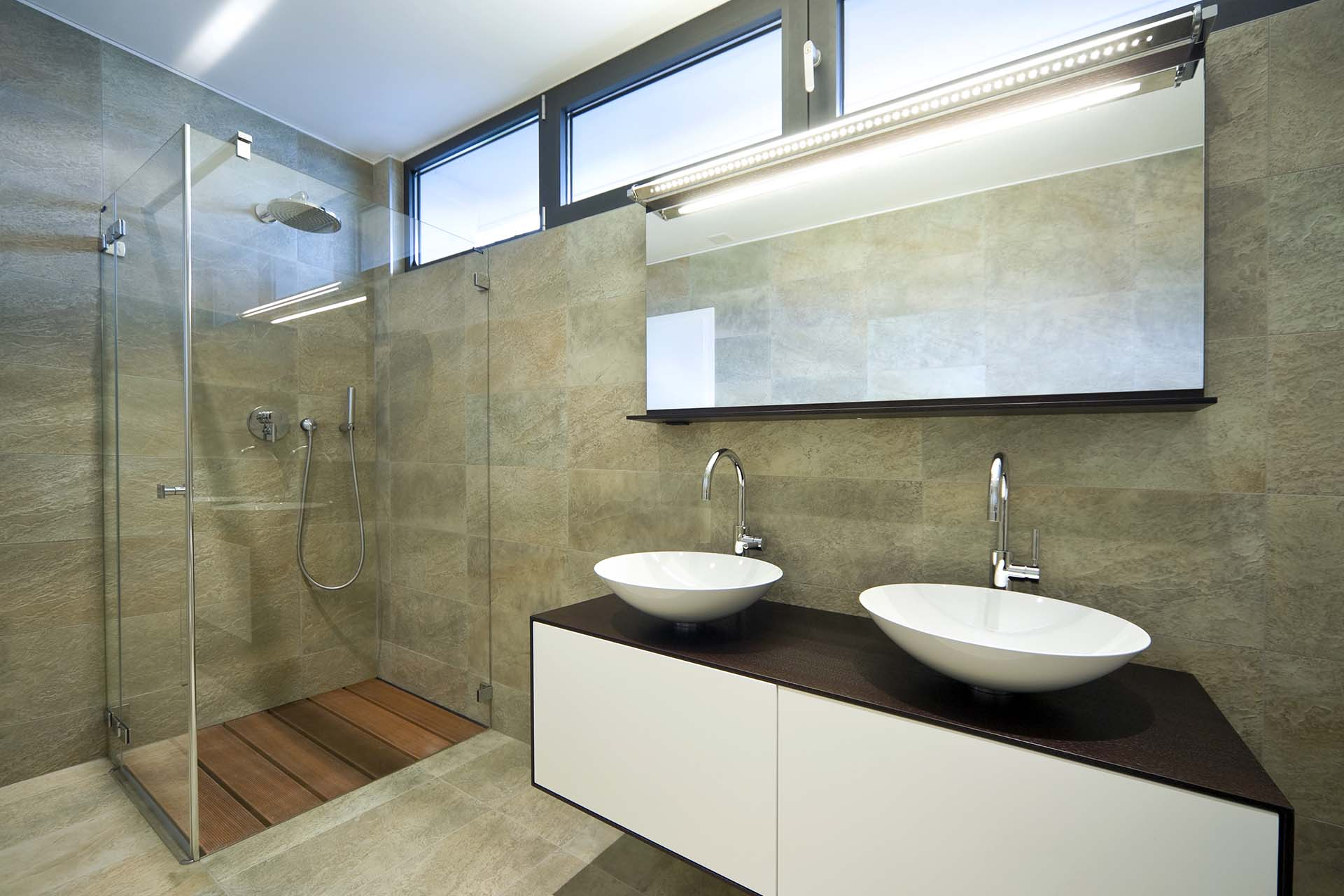 Custom World Bedrooms Bathroom Furniture -His and hers sinks on a modern made to measure cabinet