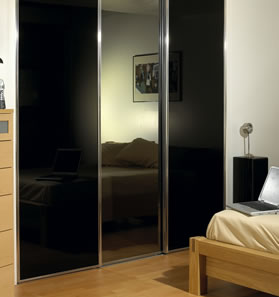 Black sliding wardrobes - black gloss wardrobe