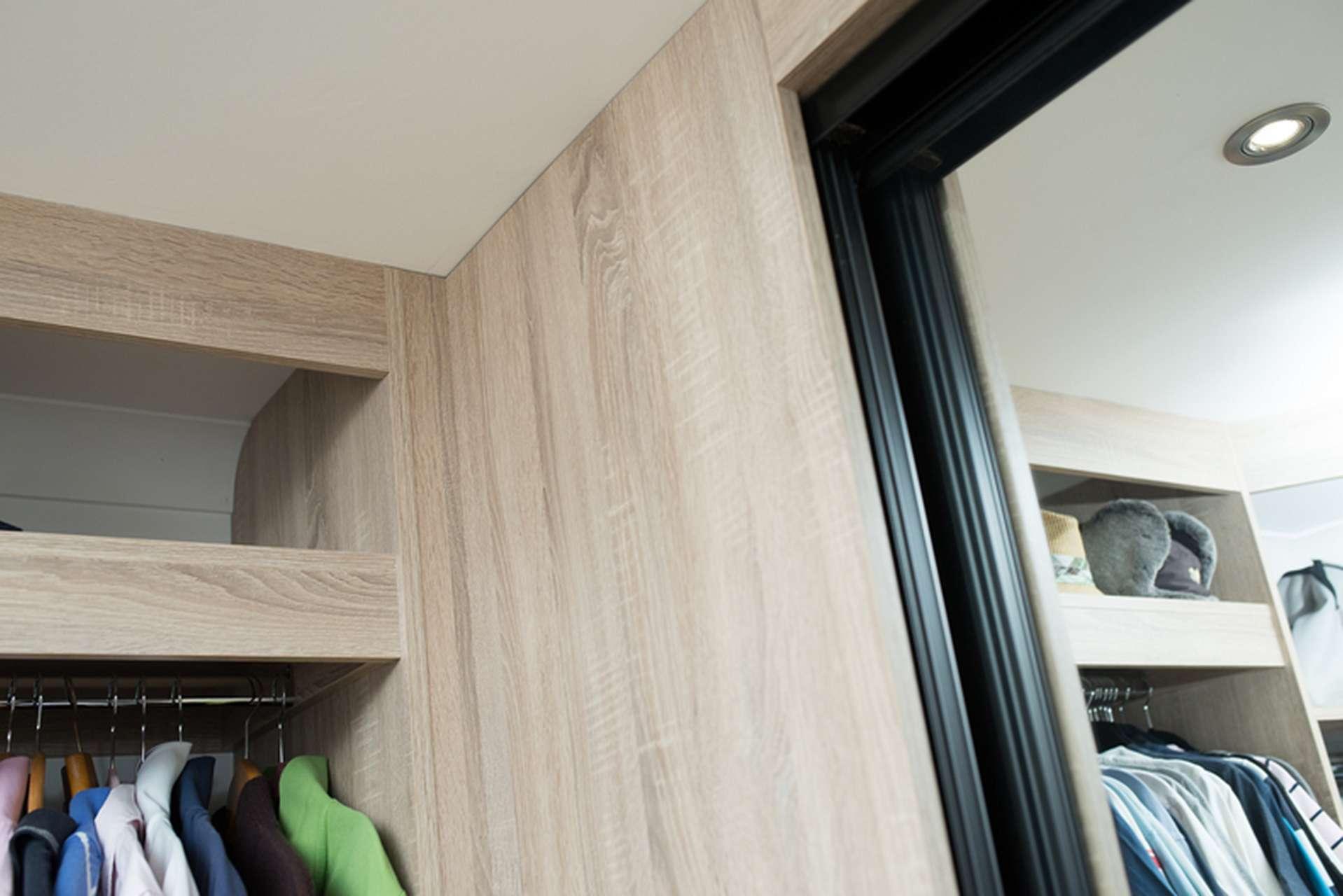 Close up of inside walk in wardrobe sliding door