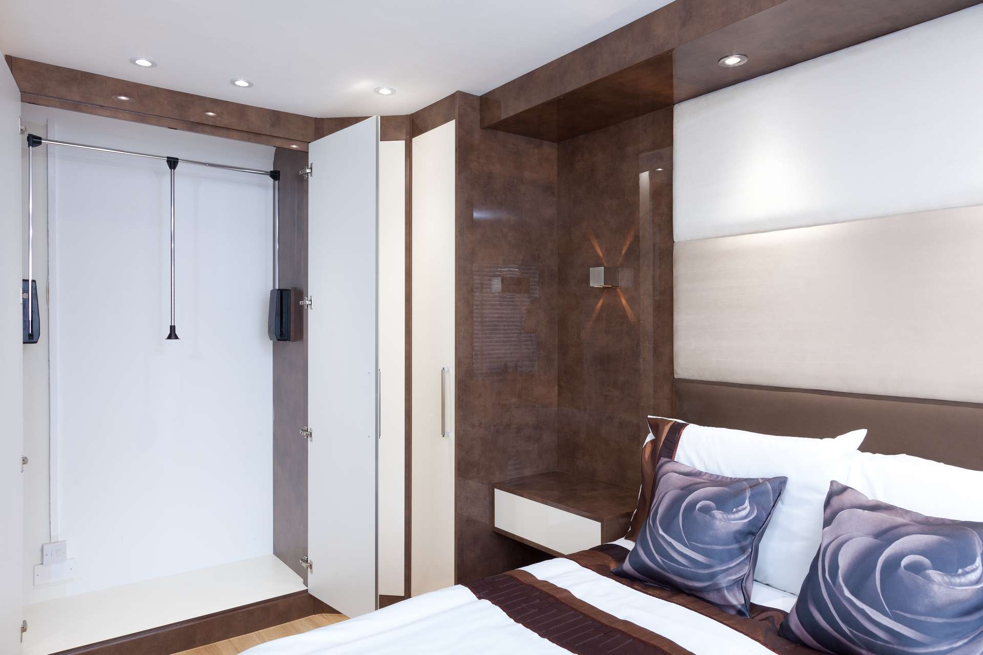 Hinged door wardrobes - contemporary styling with pull-down hanging rail