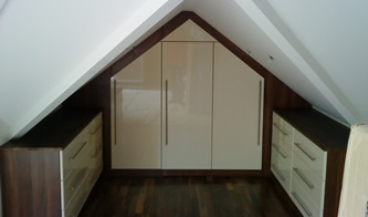 Angled loft wardrobes solutions for sloping ceilings storage